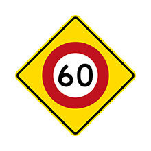 New Zealand Traffic Sign 60 km/h Speed Limit Ahead