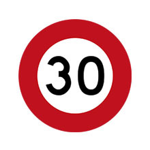 New Zealand Traffic Sign 30 km/h Speed Limit