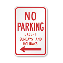 United_States_of_ America_Traffic_Sign_No_Parking_Except_Sundays