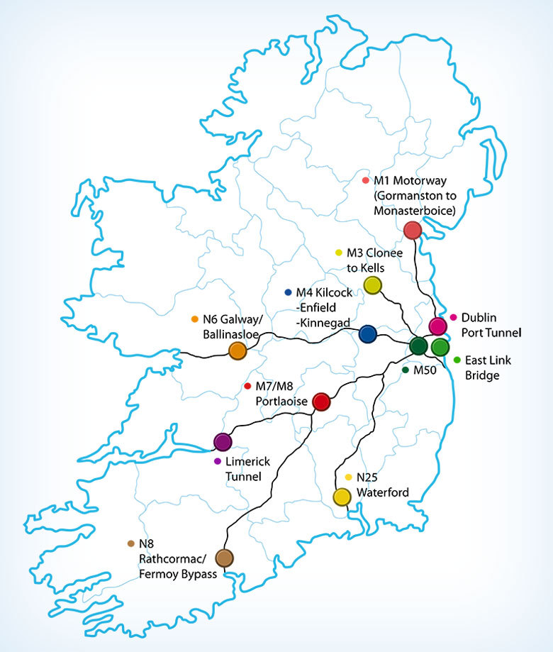 Ireland E Toll Road Map