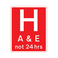UK Traffic Sign Hospital Ahead with Accident and Emergency Facilities