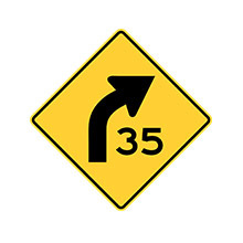 United_States_of_ America_Traffic_Sign_Curve_With_Speed_Advisory