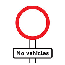 UK Traffic Sign No Vehicles Except Bicycles Being Pushed