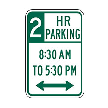 United States Traffic Sign Parking with Time Restrictions