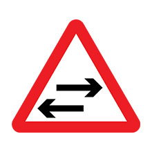 UK Traffic Sign Two-way Traffic on Route Crossing Ahead