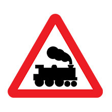 UK Traffic Sign Level Crossing Without Barrier or Gate Ahead