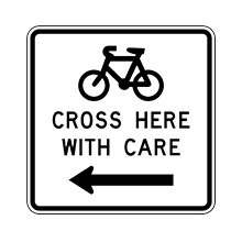 New Zealand Traffic Sign Cyclists Cross Here With Care (to the Left)