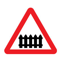 UK Traffic Sign Level Crossing WIth Barrier or Gate Ahead